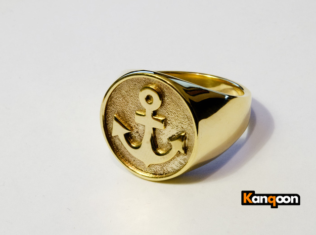 Anchor Band S. -  Signet Ring in 18k Gold Plated: 7.5 / 55.5