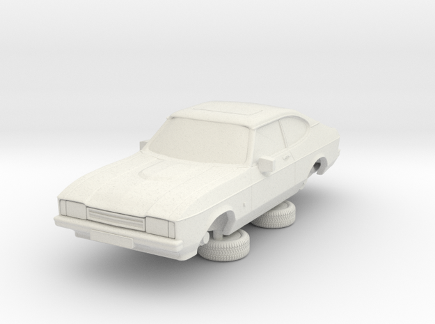 1-64 Ford Capri Mk2 3L in White Natural Versatile Plastic