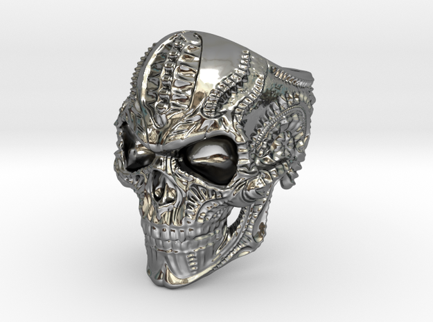 BioMech Skull Ring in Premium Silver