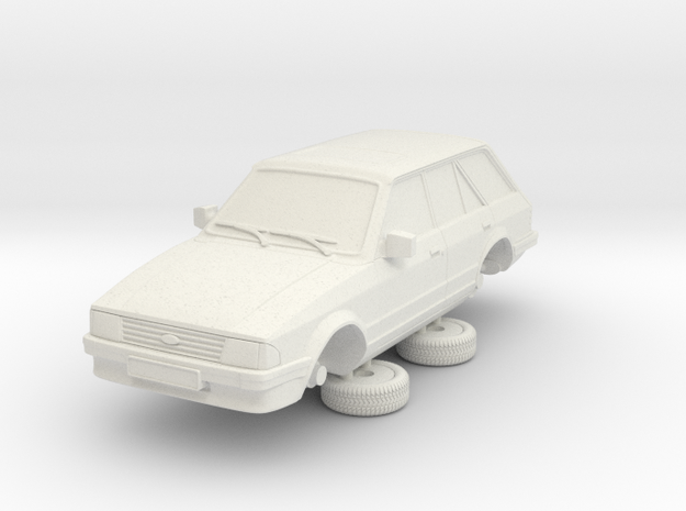 1-64 Ford Escort Mk3 4 Door Standard Estate in White Natural Versatile Plastic