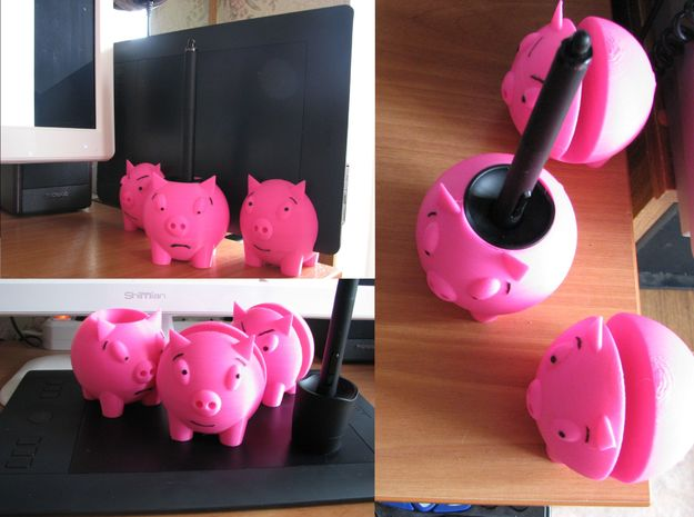 "Wacom Intuos Pro stand ""Three piggies"" in Pink Strong & Flexible Polished"