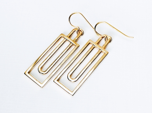 Simple Geometry - Geometric Earrings in Fine Metal in Polished Bronze