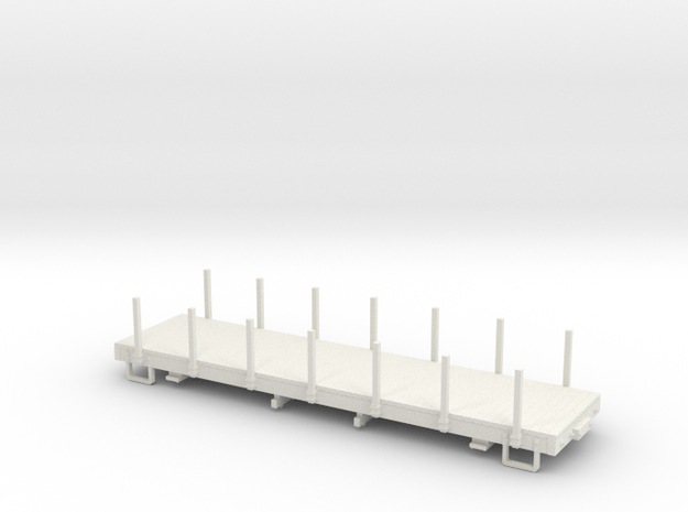 Sn3 28ft flatcar with stakes  in White Strong & Flexible