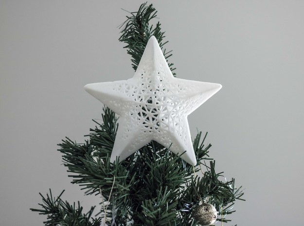 Modern Christmas Star in White Strong & Flexible Polished