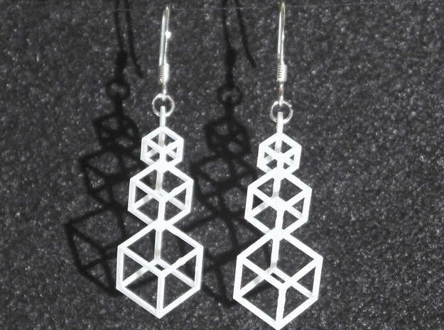 Outline Cube Earings in Smooth Fine Detail Plastic