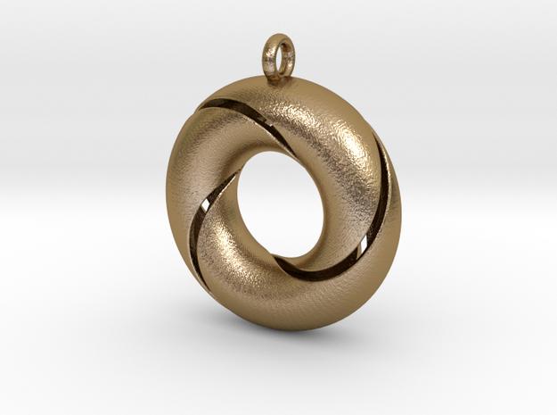 Trefoil-sierraad in Polished Gold Steel