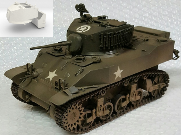 1:18 USA M5A1 Turret & Bustle for Light Tank in White Strong & Flexible