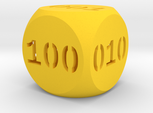 Programmer's dice in Yellow Processed Versatile Plastic