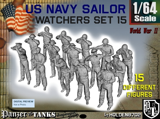 1-64 US Navy Watchers Set15 in Smooth Fine Detail Plastic