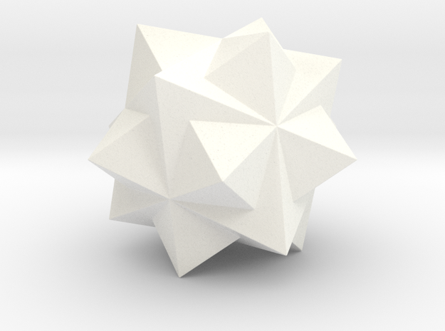 THREE OCTAHEDRA COMPOUND in White Strong & Flexible Polished