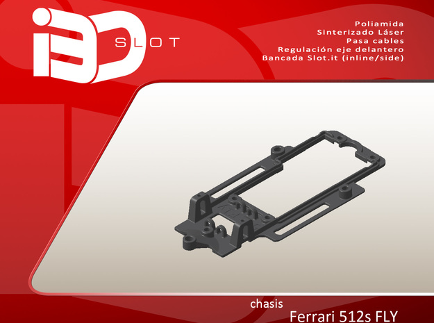 Chasis para Ferrari 512s FLY in White Strong & Flexible