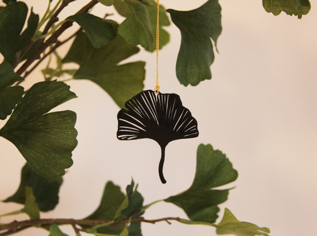 Ginko leaf pendant in Black Strong & Flexible