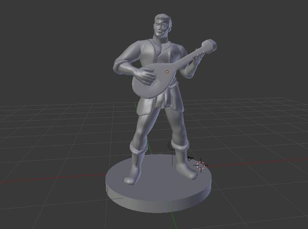 Male Human Bard in White Natural Versatile Plastic