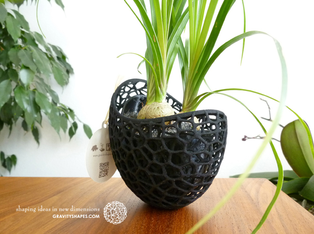 Capsule Planter outside shell for large Pot in Black Natural Versatile Plastic