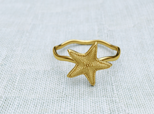Starfish ring in Polished Gold Steel: 6 / 51.5