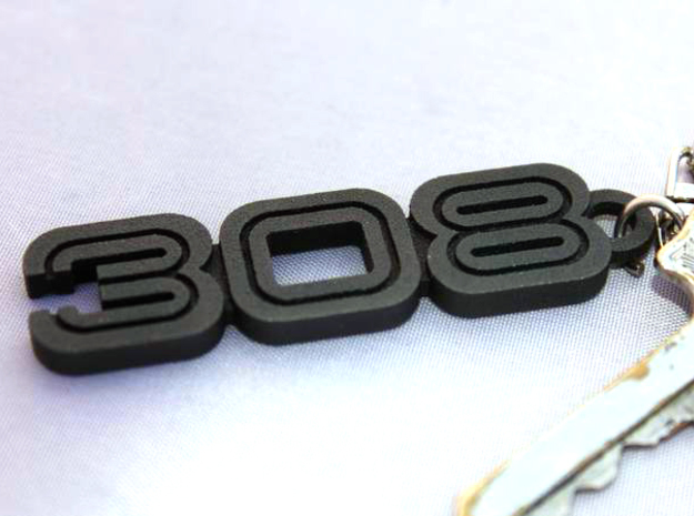 KEYCHAIN LOGO 308 3d printed Keychain with the Ferrari 308 logo in Black Stee