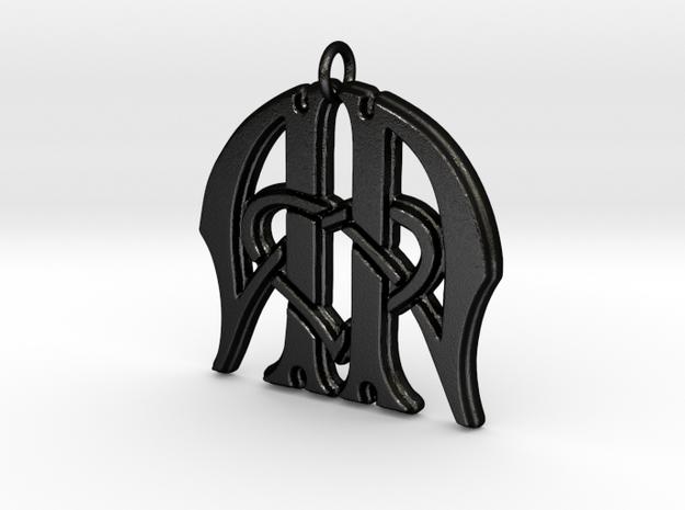 Monogram Initials AA.3 Pendant in Matte Black Steel