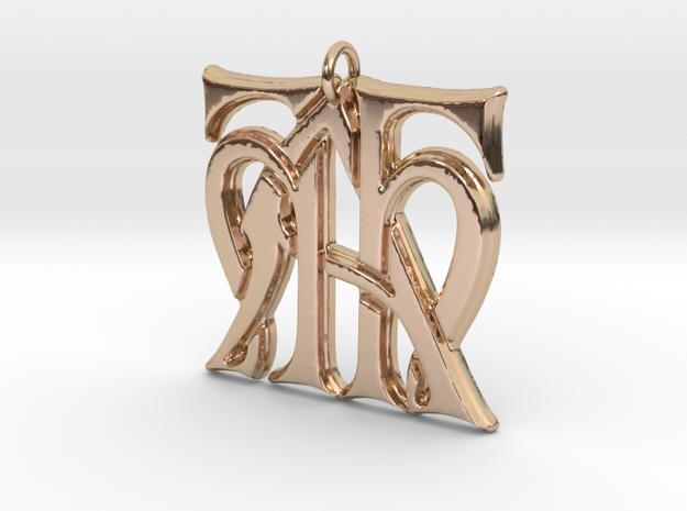 Monogram Initials HHA Pendant  in 14k Rose Gold