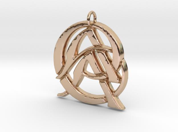 Monogram Initials AAC Pendant  in 14k Rose Gold