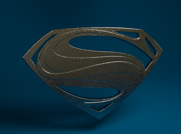 Man Of Steel - Emblem in Polished Bronzed Silver Steel
