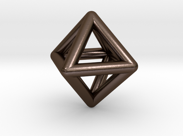 0595 Octahedron E (a=10mm) #001 in Polished Bronze Steel