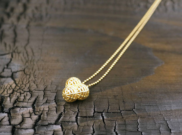 "Small Pendant ""Little Globes"" in Polished Gold Steel"