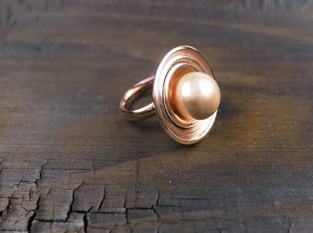 Ring for a Pearl with bowls in 14k Rose Gold Plated Brass