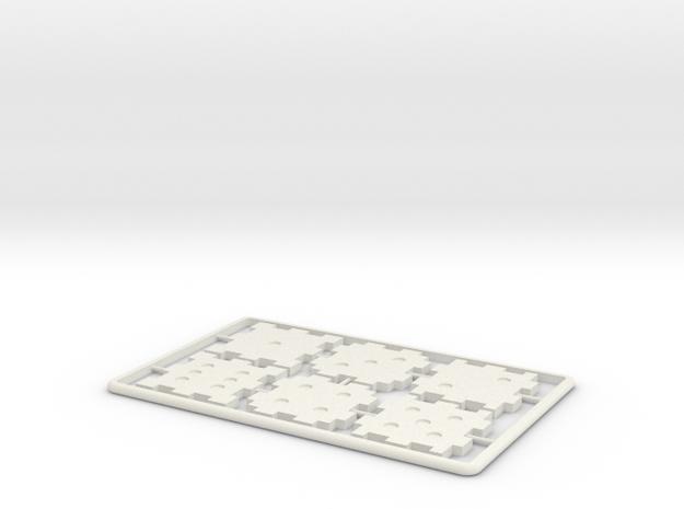 Creditcard Dice in White Natural Versatile Plastic: d6
