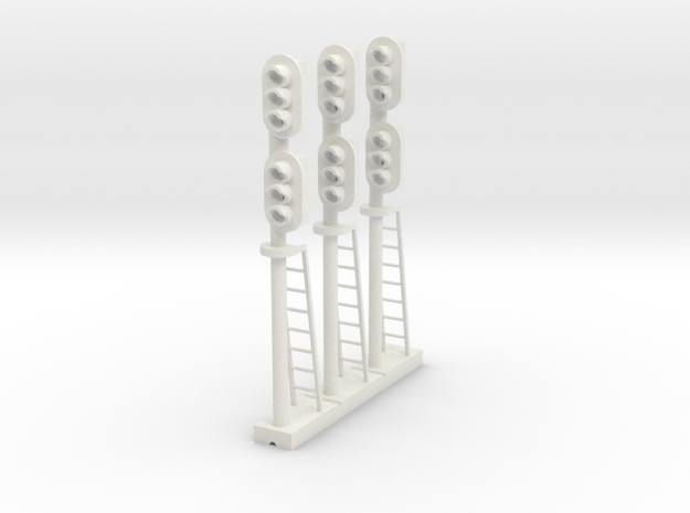Block Signal Double 3 Light RH (Qty 3) - HO 87:1  in White Natural Versatile Plastic