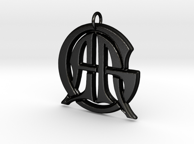 Monogram Initials AAG Pendant  in Matte Black Steel