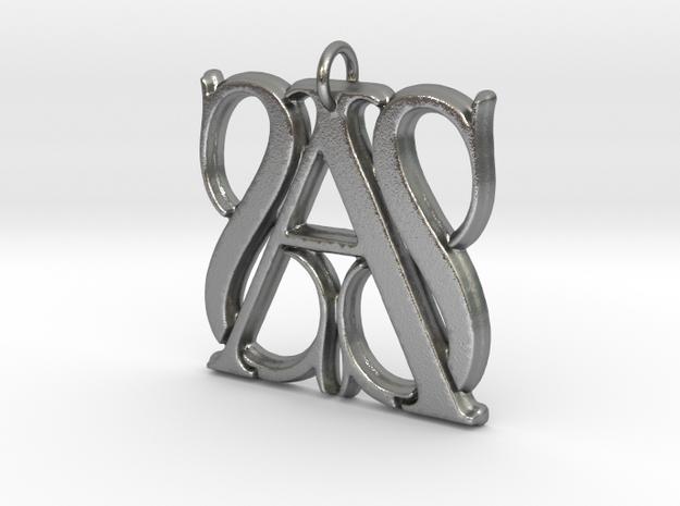 Monogram Initials SSA Pendant  in Natural Silver