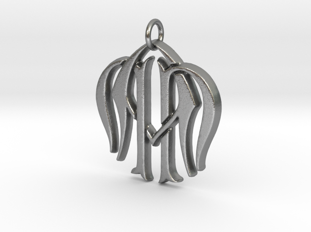 Monogram Initials NNA Pendant  in Natural Silver