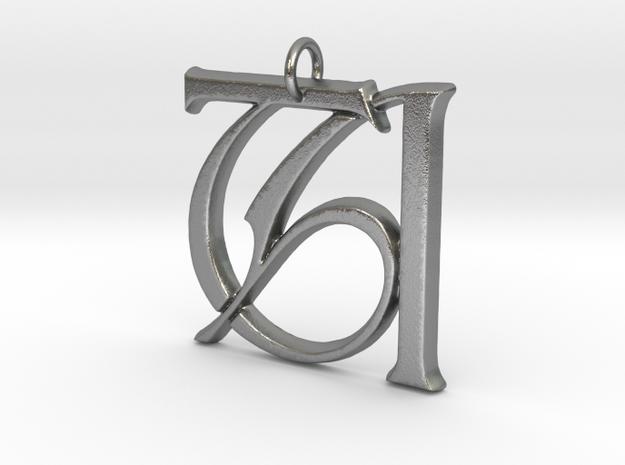 Monogram Initials TA Pendant  in Raw Silver