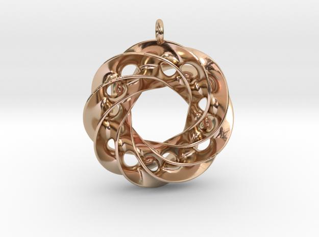 Twisted Scherk Linked 4,3 Torus Knots Pendant