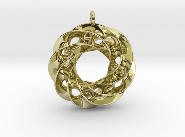 Twisted Scherk Linked 4,3 Torus Knots Pendant in 18k Gold Plated