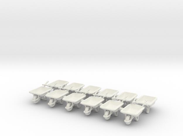 Wheelbarrow 01. 1:64 Scale in White Natural Versatile Plastic