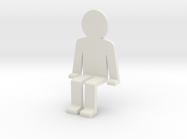 Sitting guy funny in White Natural Versatile Plastic