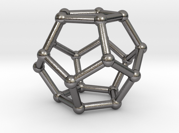 0599 Dodecahedron V&E (a=10mm) #002 in Polished Nickel Steel