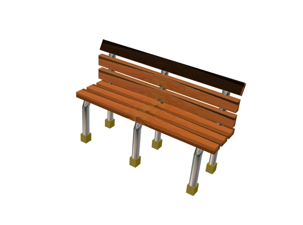 8 Wood Metal Frame Benches in Smooth Fine Detail Plastic