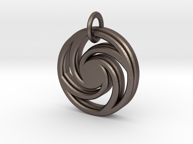 Circle of infinity in Polished Bronzed Silver Steel