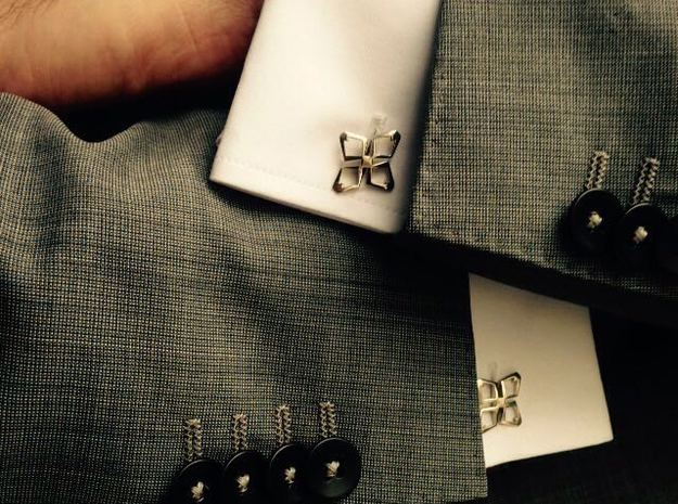 HEAD TO HEAD Ahead , Bend Cufflinks in Polished Silver