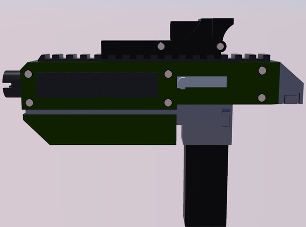 28mm X-1 Compact Assault Rifle (10 Pack) 3d printed Side Render with High Capacity Magazine and Holographic Sight