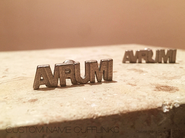 "Hebrew Name Cufflinks - ""Avrumi"" in Stainless Steel"