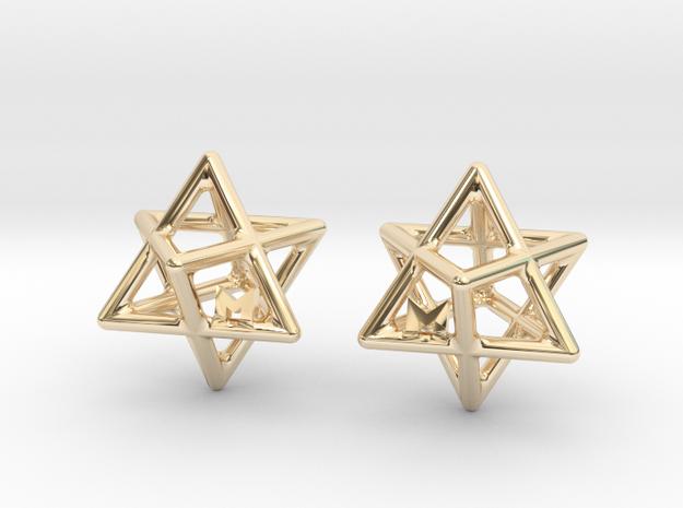 MILOSAURUS Tetrahedral 3D Star of David Earrings in 14k Gold Plated Brass