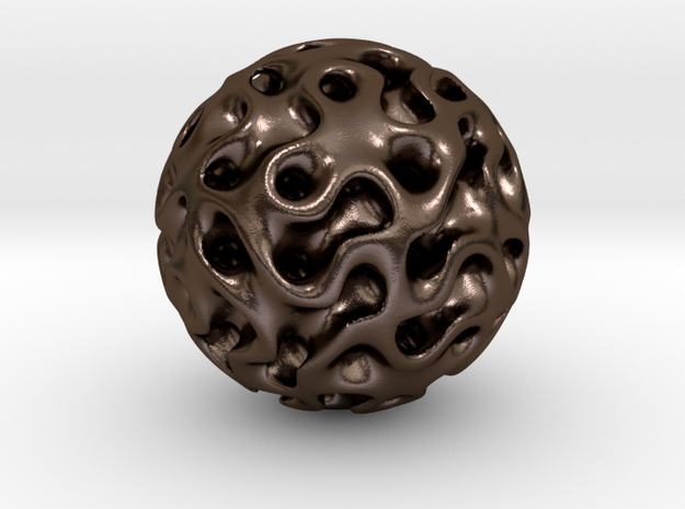 0606 IsoSurface F(x,y,z)=0 Diamond Ball (d=5cm) #1 in Polished Bronze Steel