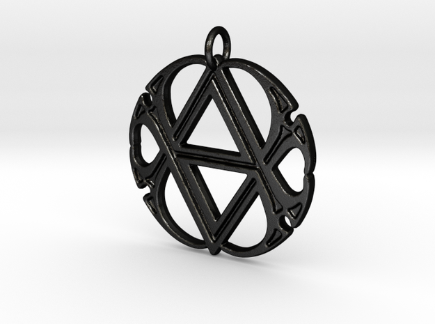 Monogram Initials AA.4 Pendant  in Matte Black Steel