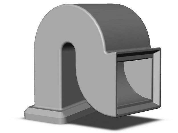 Box Car Ventilator - Rectangular Inlet and Duct in Smooth Fine Detail Plastic