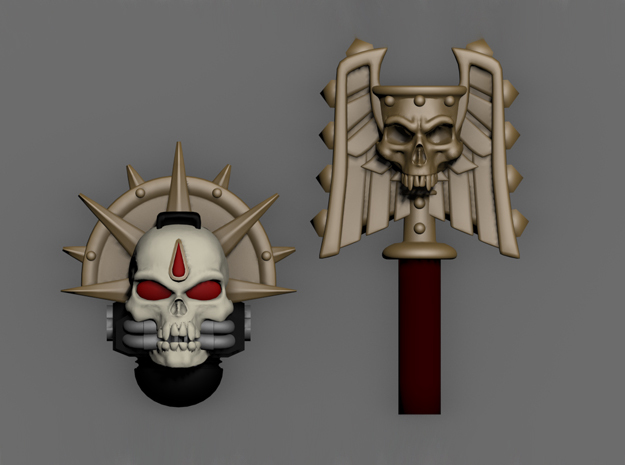 Blood Drop Skull Helm & Hammer