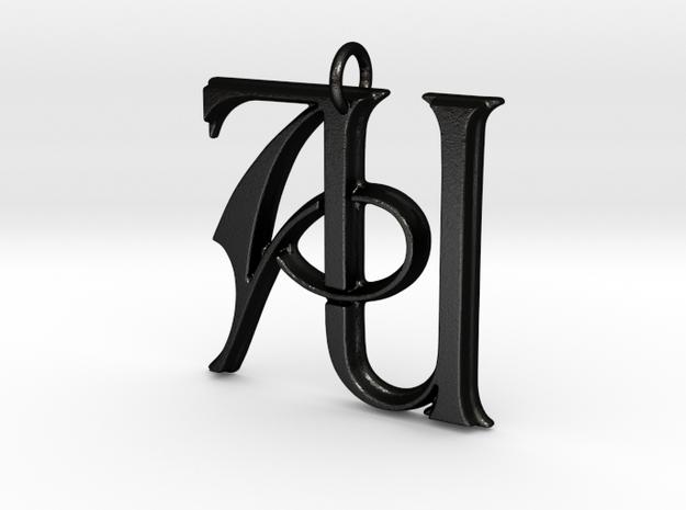 Monogram Initials AU Pendant in Matte Black Steel