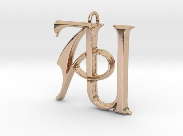 Monogram Initials AU Pendant in 14k Rose Gold